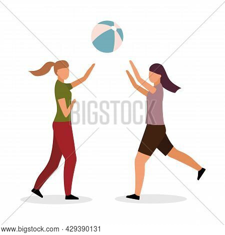 Girls Playing Volleyball Semi Flat Color Vector Characters. Full Body People On White. Outdoor Activ