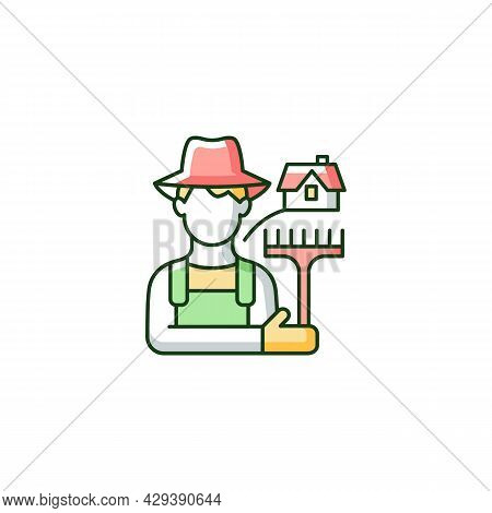 Rural Workers Rgb Color Icon. Man Stands Near Barn. Labourer With Tool. Rural Area Life. Farmer In V