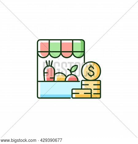 Agricultural Trade Rgb Color Icon. Farmers Products Shop. Eco Market Consumer. Organic Goods And Com