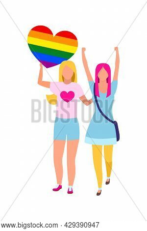 Girls Participating In Gay Rights Movement Semi Flat Color Vector Characters. Full Body People On Wh
