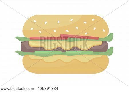 Cheeseburger Semi Flat Color Vector Object. Full Sized Item On White. Eating Fast Food. Beef Burger