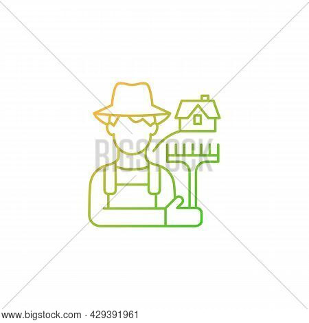 Rural Workers Gradient Linear Vector Icon. Man Stands Near Barn. Labourer With Tool. Farmer In Villa