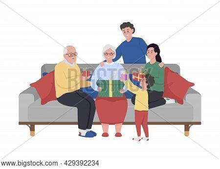 Big Family Celebrating Grandma Birthday Semi Flat Color Vector Characters. Full Body People On White