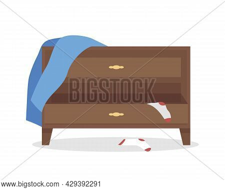 Sideboard In Mess Semi Flat Color Vector Object. Full Sized Item On White. Clean Clothes Lacking. Be