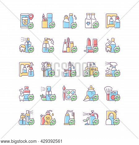 Refill Options Rgb Color Icons Set. Eco Friendly Package. Reusable Products To Reduce Carbon Print O
