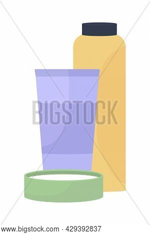 Skin Care Products Semi Flat Color Vector Object. Full Sized Item On White. Softening Skin. Moisturi