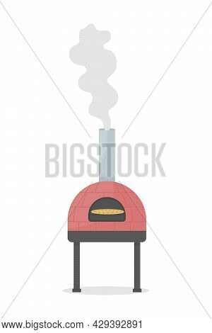 Wood-fired Oven For Pizza Cooking Semi Flat Color Vector Object. Full Sized Item On White. Professio