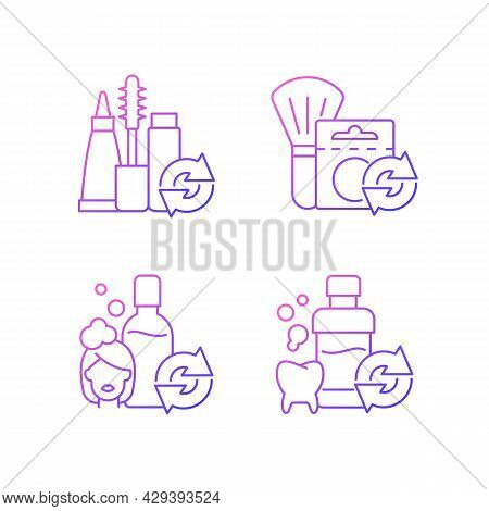 Reusable Options Gradient Linear Vector Icons Set. Mascara Refill. Blush In Eco Friendly Package. Th