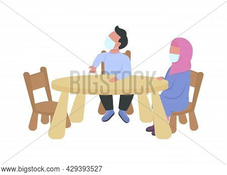 Preschoolers With Masks Sitting At Table Semi Flat Color Vector Characters. Full Body People On Whit