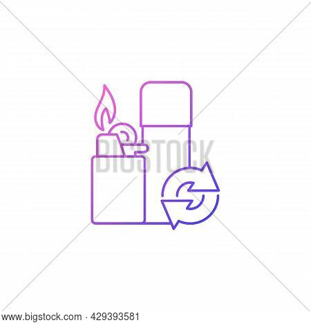 Lighter Refill Gradient Linear Vector Icon. Propane And Gas Filling. Domestic Lighting Tool. Reusabl