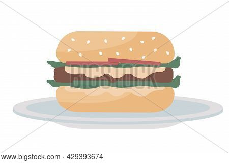 Hamburger Semi Flat Color Vector Object. Full Sized Item On White. Summer Party With Burger Bar. Fas