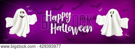 Happy Halloween. Ghost And Bats Poster. Ghost On Lilac Background With Text Happy Halloween.