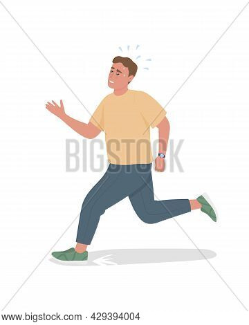 Man With Chronic Lateness Semi Flat Color Vector Character. Full Body Person On White. Scatterbraine