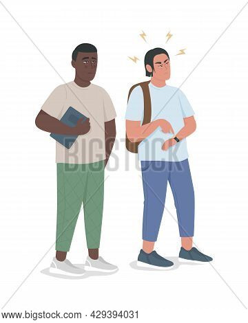 Punctual Guy Expresses Irritation Semi Flat Color Vector Characters. Full Body People On White. Coll