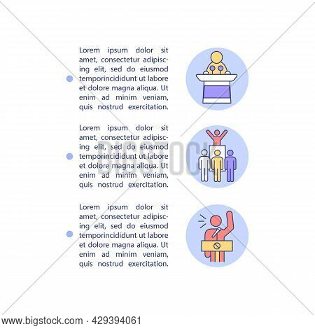 Political Climate Change Denial Concept Line Icons With Text. Ppt Page Vector Template With Copy Spa