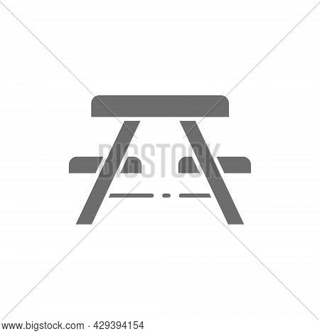 Vector Picnic Table With Benches Grey Icon.