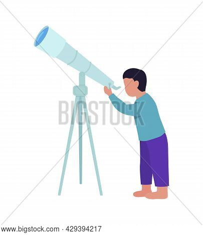 Little Boy Stargazing With Telescope Semi Flat Color Vector Character. Full Body Person On White. Yo