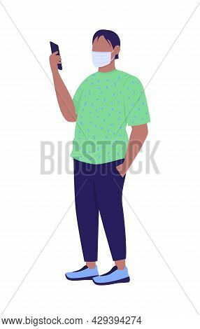 Man Wearing Face Mask Correctly Semi Flat Color Vector Character. Full Body Person On White. Waiting