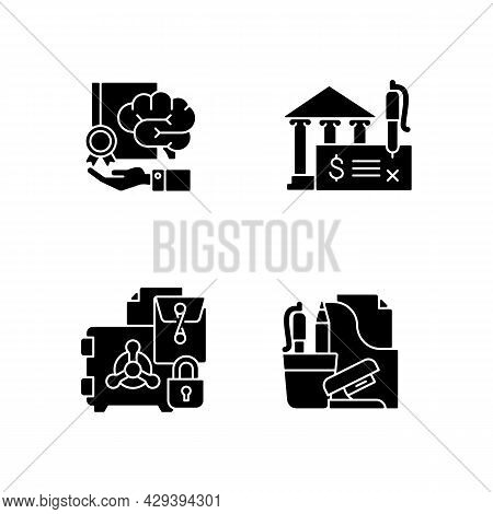 Corporate Intellectual Property Black Glyph Icons Set On White Space. Bank Draft And Trade Secrets.