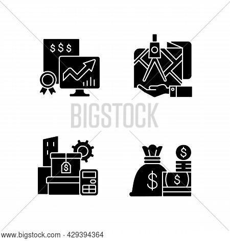 Assets Management Black Glyph Icons Set On White Space. Cash And Marketable Securities. Public Stock
