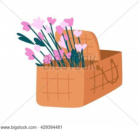 Picnic Basket With Flowers Semi Flat Color Vector Object. Full Sized Item On White. Midsummer Meadow