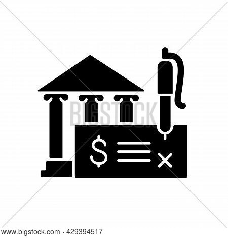 Bank Draft Black Glyph Icon. Payment Providing. The Funds For The Recipient Guaranteeing. Teller Che