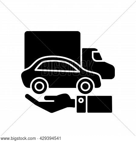 Company Owned Vehicles Black Glyph Icon. Buying A Car For Business Use. Truck And Automobile On The
