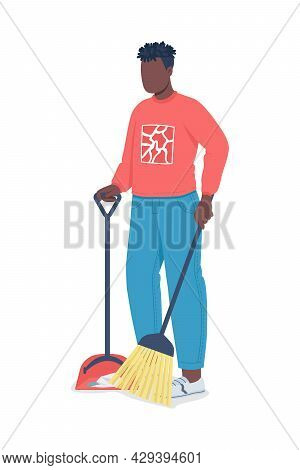 Man Sweeping Floor Semi Flat Color Vector Character. Household Chore. Full Body Person On White. Spr