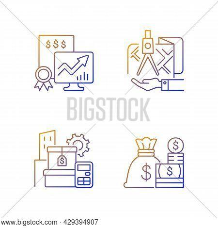 Assets Management Gradient Linear Vector Icons Set. Cash And Marketable Securities. Public Stock. La