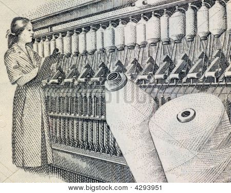 Woman supervising textile machine on 100 Intis 1987 Banknote from Peru poster