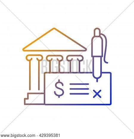 Bank Draft Gradient Linear Vector Icon. Payment Providing. Guarantee Fund. Financial Approvement. Cl