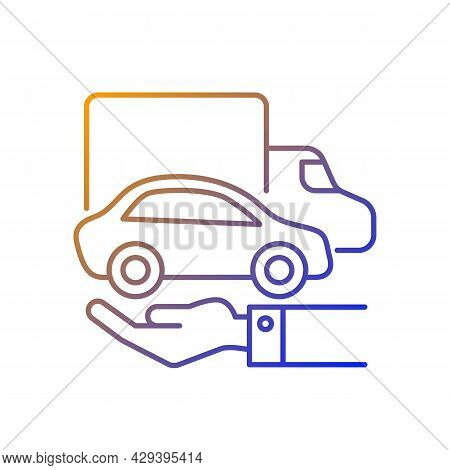 Company Owned Vehicles Gradient Linear Vector Icon. Business Use Car. Truck And Automobile On The Hu