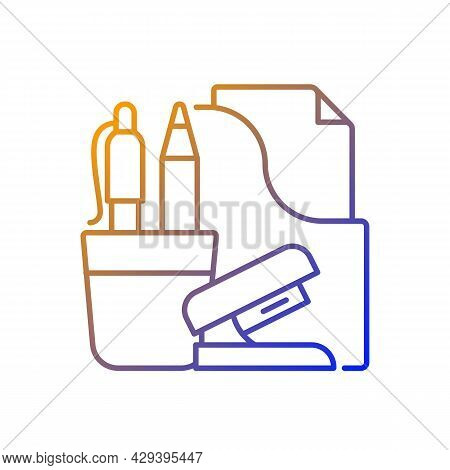 Office Supplies Gradient Linear Vector Icon. Consumable Products. Writing Accessories And Stapler. T