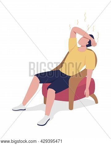 Guy Suffering From Fever Semi Flat Color Vector Character. Posing Figure. Full Body Person On White.