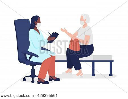Old Lady Consulting With Physician Semi Flat Color Vector Characters. Full Body People On White. Goi