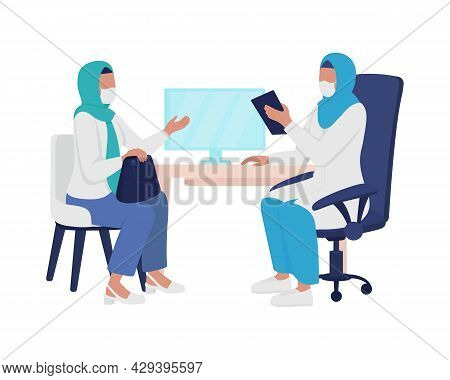 Physician-patient Interaction Semi Flat Color Vector Characters. Full Body People On White. Visiting