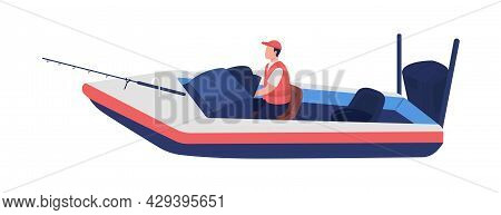 Angler Catching Fish On Boat Semi Flat Color Vector Character. Full Body Person On White. Profession