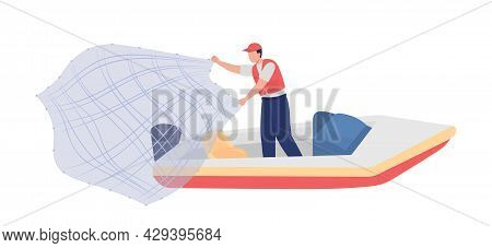 Fisherman With Throw Net Semi Flat Color Vector Character. Full Body Person On White. Catching Fish,