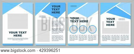 Geometric Blue Instructional Brochure Template. Flyer, Booklet, Leaflet Print, Cover Design With Cop