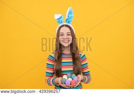 Happy Easter Teen Girl In Rabbit Bunny Ears Holding Painted Eggs For Holiday Egg Hunt, Bunny Hunt