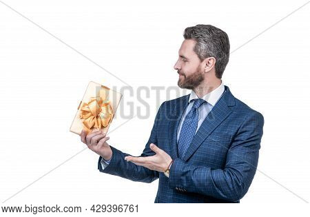 Businessman Man In Businesslike Suit Presenting Present Box Isolated On White, Business Reward.