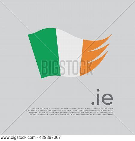 Republic Of Ireland Flag. Vector Stylized Design National Poster On White Background. Irish Flag Pai