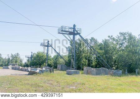 Rogoznica, Poland - June 3, 2021: Part Of Lines Over Stone-pit At Gross-rosen Museum. Gross-rosen Is