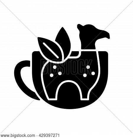 Silicone Tea Infuser Black Glyph Icon. Infuser In Form Of Animal. Reusable Kitchen Tool. Funny Tea U