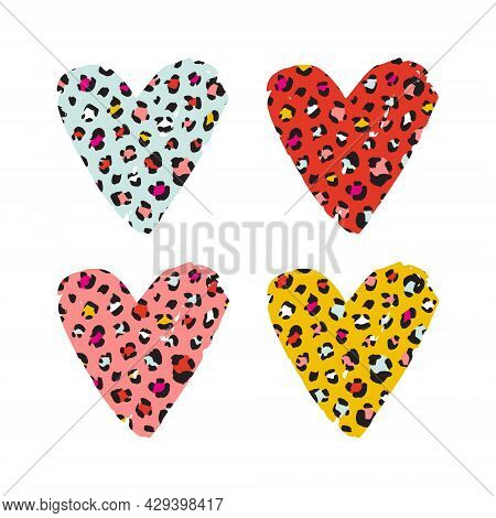 Leopard Print Textured Hand Drawn Brush Stroke Heart Shape Set . Abstract Paint Spot With Wild Anima