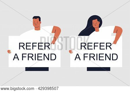 Refer A Friend Vector Concept Illustration With Man And Woman Characters Isolated On Background.