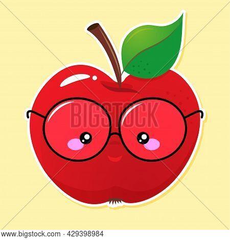 Smart, Nerd Red Apple With Eyeglasses - Kawaii Illustration Design. Good For Clothes, Gift Sets, Pho