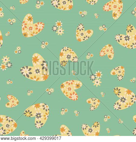 Colorful Love Heart Vector Seamless Pattern In Boho Style. Pastel Green Yellow Retro Floral Hearts A