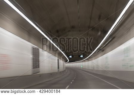 Underground Tunnel With Road Tunnel Of Motion Car With Light Trails, Road.