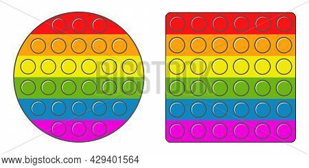 Simple Dimple Multicolored Rainbow Antistress Toy Vector Tactile And Educational Toy Simple Dimple P